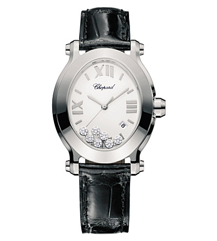 CHOPARD 278546-3001 happy sport stainless steel and diamond watch