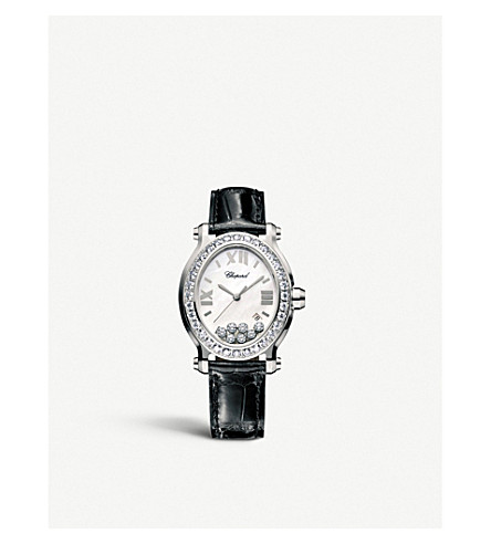 CHOPARD Happy Sport Oval stainless steel, diamond and alligator-leather watch