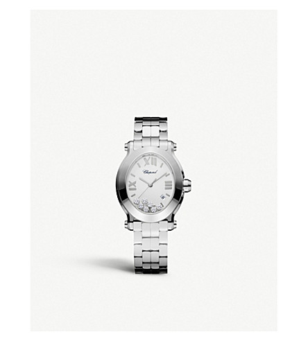 CHOPARD Happy Sport Oval stainless steel and diamond watch