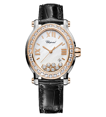 CHOPARD Happy Sport Oval 18ct rose-gold, stainless steel, diamond and alligator-leather watch