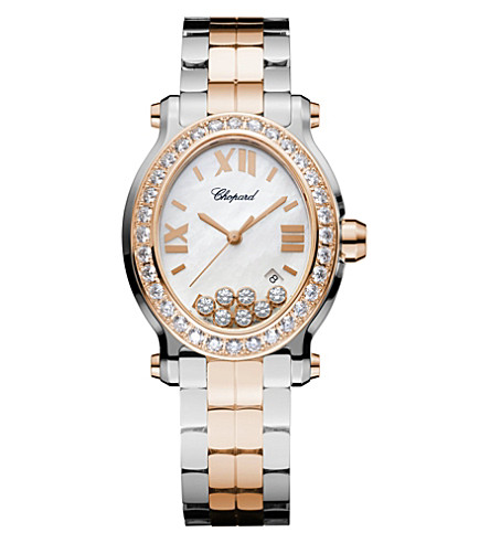 CHOPARD Happy Sport Oval 18ct rose-gold, stainless steel and diamond watch