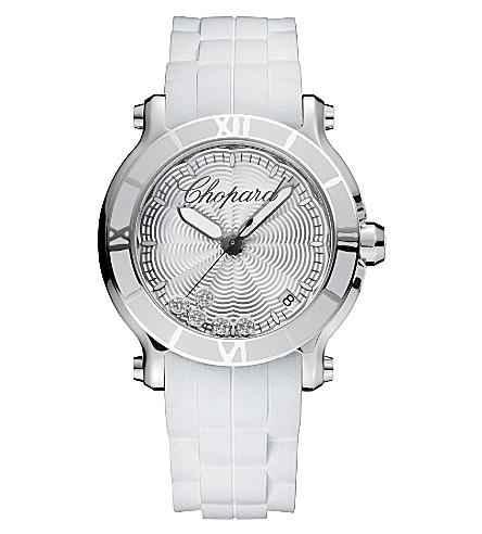 CHOPARD Happy Sport Medium stainless steel and diamond watch