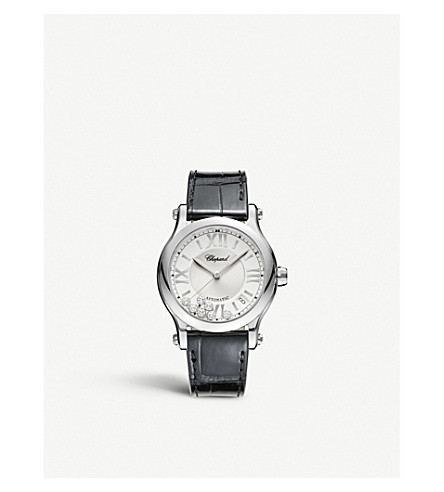 CHOPARD 快乐运动中型不锈钢, 金刚石和 croccodile-皮革手表