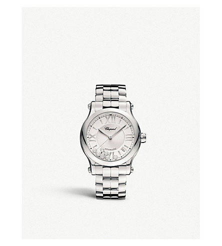 CHOPARD 278559-3002 happy sport stainless steel and diamond watch