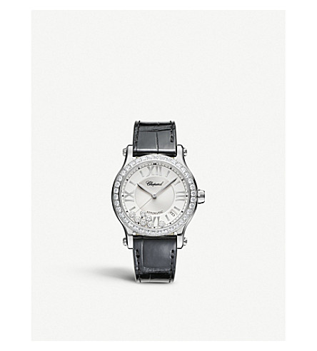 CHOPARD Happy Sport Medium automatic stainless steel, diamond and alligator-leather watch