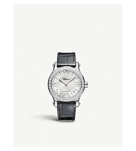 CHOPARD 快乐运动中等自动不锈钢, 钻石和鳄鱼皮革手表