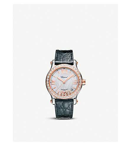 CHOPARD Happy Sport 36mm Automatic rose gold and diamond watch