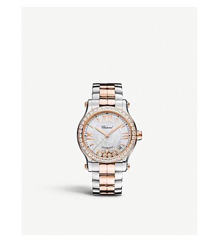 CHOPARD Happy Sport 36mm Automatic 18ct rose gold and diamond watch