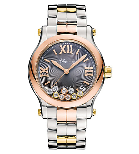 CHOPARD 278559-9001 happy sport rose & yellow gold and stainless steel watch