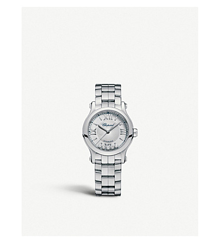 CHOPARD 278573-3002 Happy sport stainless steel and diamond watch