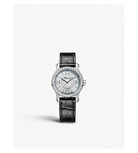 CHOPARD Happy Sport 30mm Automatic stainless steel and diamond watch