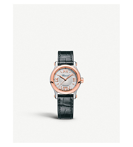 CHOPARD 278573-6001 Happy sport 18ct rose-gold, stainless steel, leather and diamond watch