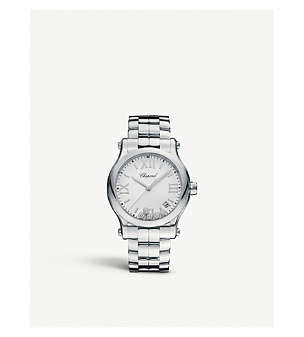 CHOPARD Happy Sport 36mm Quartz stainless steel and diamond watch