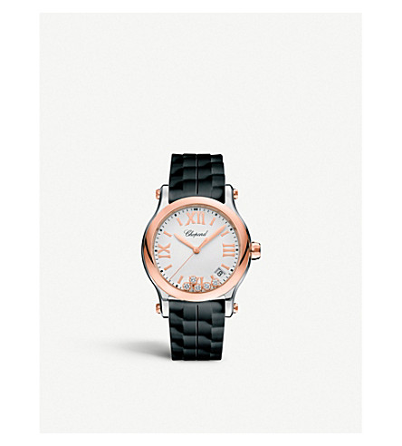 CHOPARD 278582-6001 Happy Sport 18ct rose-gold, stainless steel and diamond watch