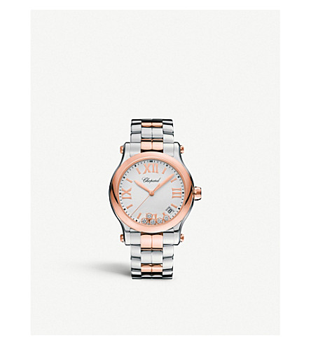 CHOPARD Happy Sport 36mm Quartz stainless steel and rose gold watch