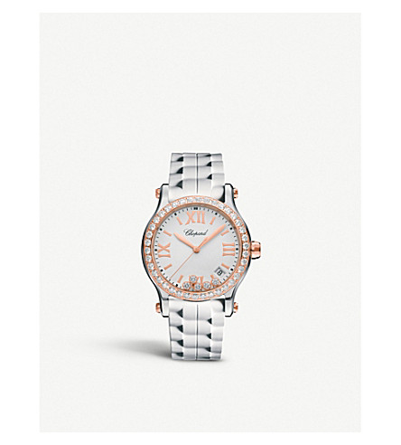 CHOPARD Happy Sport 36mm Quartz rose gold and diamond watch
