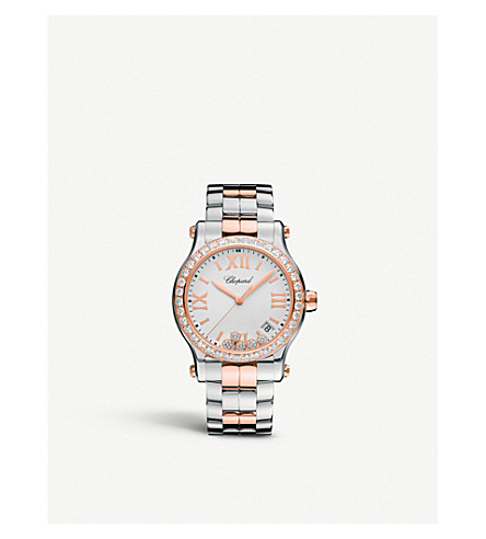 CHOPARD 278582-6004 Happy Sport 18ct rose-gold, stainless steel and diamond watch