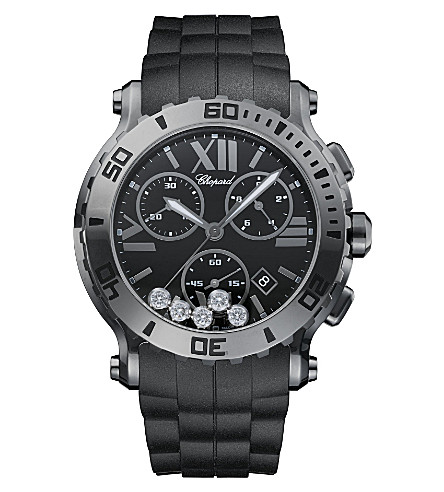 CHOPARD Happy Sport Chrono stainless steel and diamond watch