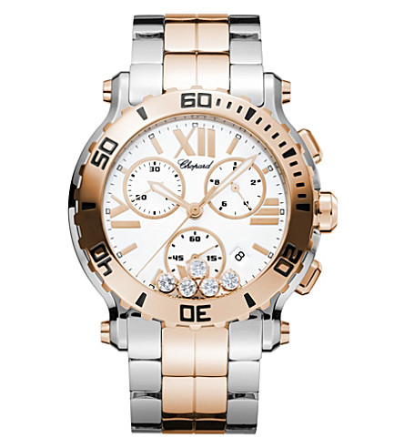 CHOPARD Happy Sport Chrono 18ct rose-gold, stainless steel and diamond watch
