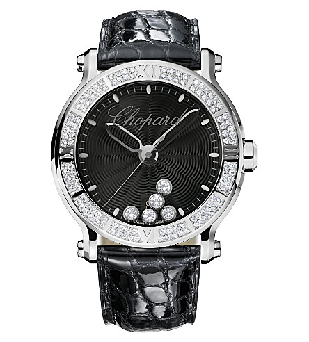 CHOPARD Happy Sport XL stainless steel, diamond and sapphire watch