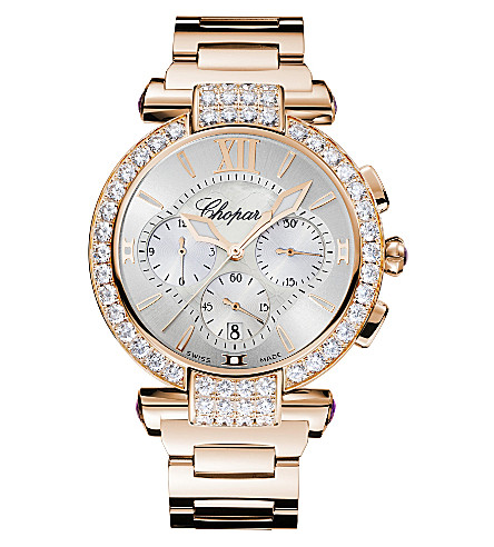 CHOPARD IMPERIALE 18ct rose-gold, diamond chronograph watch