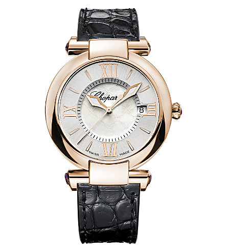 CHOPARD IMPERIALE 18ct rose-gold, amethyst and alligator-leather watch