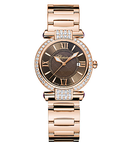 CHOPARD IMPERIALE 18ct rose-gold, diamond and amethyst watch