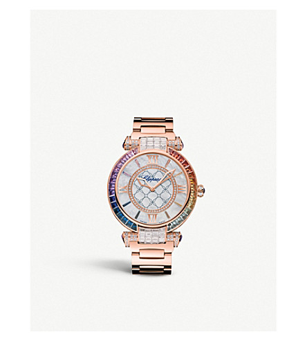 CHOPARD 384239-5011 Imperiale 18ct rose-gold, diamond and sapphire watch
