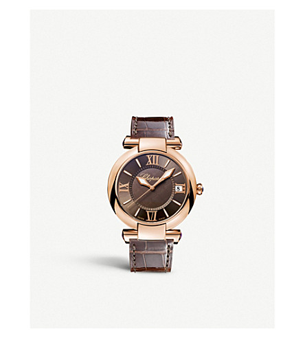 CHOPARD 普利亚18ct 玫瑰金色, 紫水晶和鳄鱼皮革手表