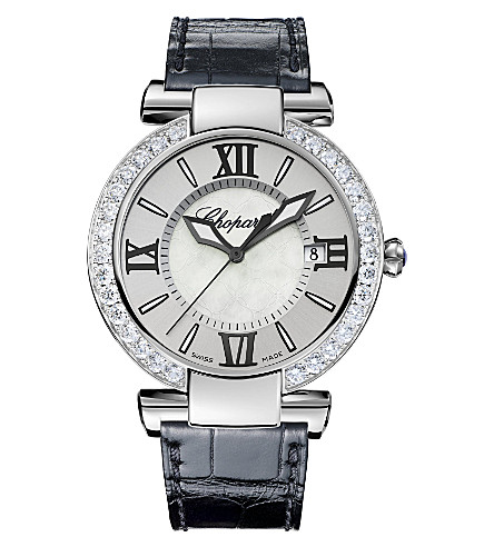 CHOPARD IMPERIALE stainless steel, diamond, alligator-leather and amethyst watch
