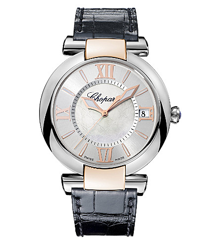CHOPARD IMPERIALE 18ct rose-gold, stainless steel, amethyst and alligator-leather watch