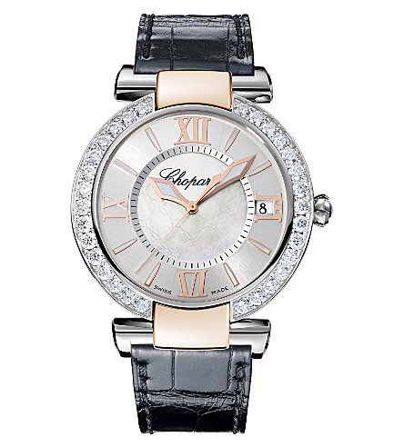 CHOPARD IMPERIALE 18ct rose-gold, stainless steel, diamond, amethyst and alligator-leather watch