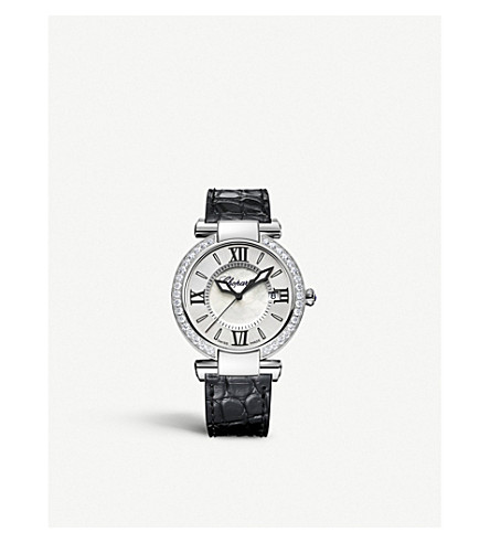 CHOPARD 普利亚不锈钢, 钻石, 紫水晶和鳄鱼皮手表