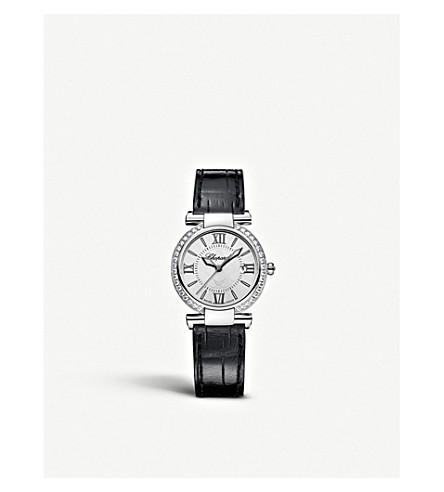 CHOPARD 普利亚不锈钢, 钻石, 鳄鱼皮和紫水晶手表