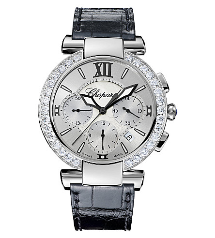 CHOPARD IMPERIALE stainless steel, diamond, amethyst and alligator-leather watch