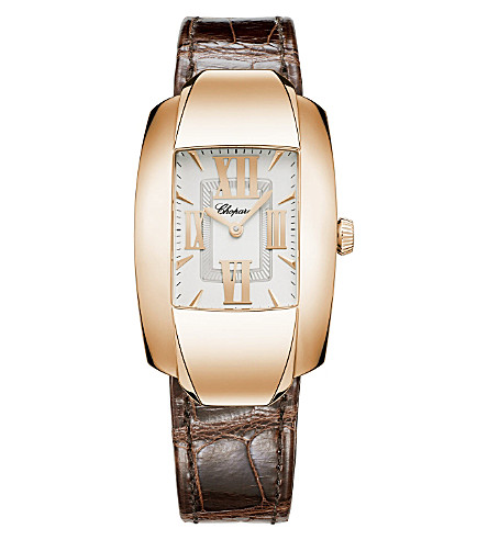 CHOPARD La Strada 18ct rose-gold and alligator-leather watch