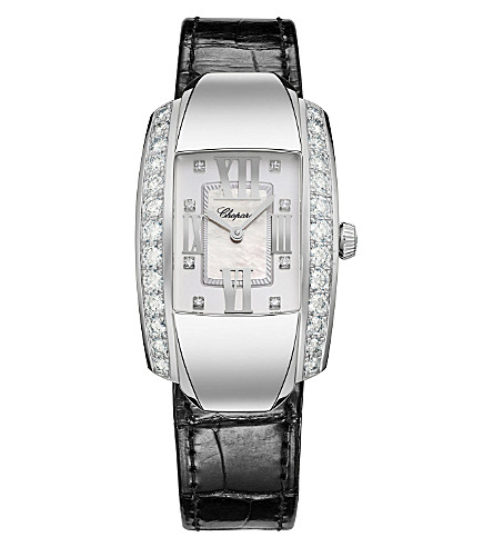 CHOPARD La Strada 18ct white-gold, diamond and alligator-leather watch