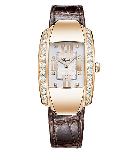 CHOPARD La Strada 18ct rose-gold, diamond and alligator-leather watch