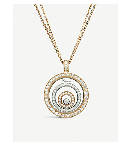 CHOPARD Happy Spirit Diamond 18ct white-gold, rose-gold and diamond pendant