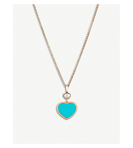CHOPARD Happy Hearts 18ct rose-gold, diamond and turquoise necklace