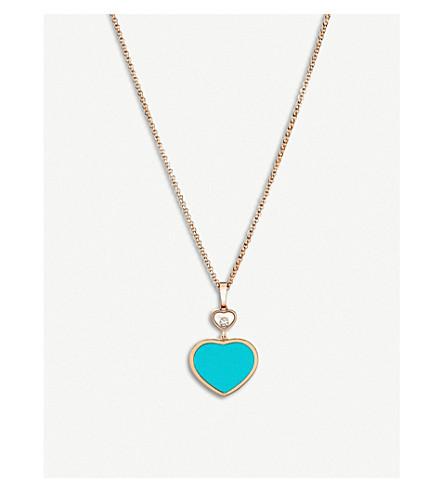CHOPARD 快乐的心18ct 玫瑰金, 钻石和绿松石项链