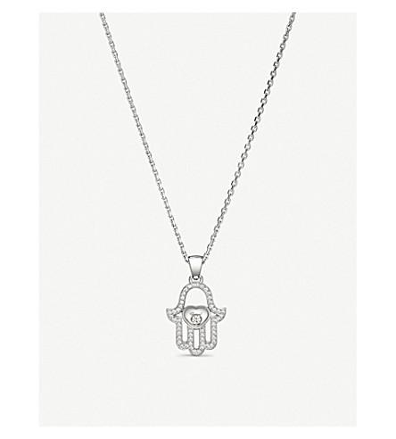 CHOPARD Happy Diamonds 标志 18 K 白金钻石吊坠