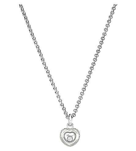CHOPARD Miss Happy 18ct white-gold and diamond pendant necklace