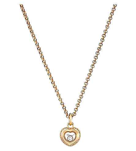 CHOPARD Miss Happy 18ct rose-gold and diamond pendant necklace