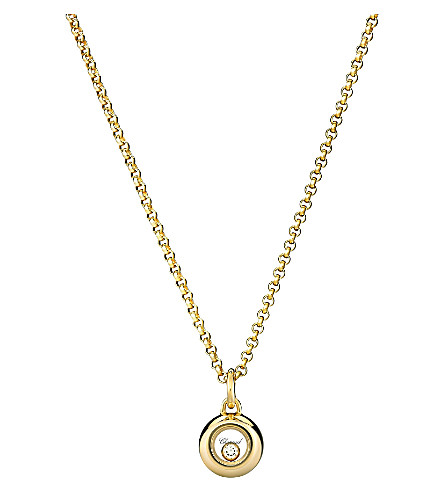 CHOPARD Miss Happy 18ct yellow-gold and diamond pendant necklace