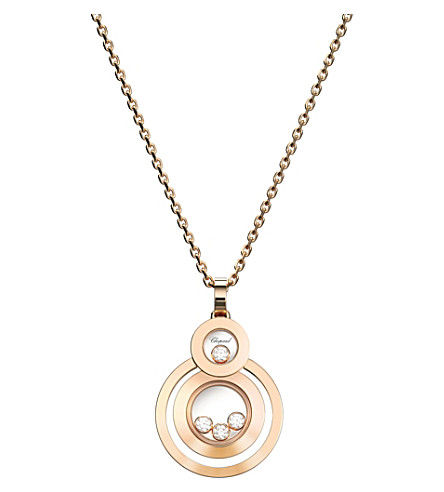 CHOPARD Happy 8 18ct rose-gold and diamond pendant