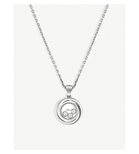 CHOPARD Happy Emotions 18ct white-gold and diamond pendant