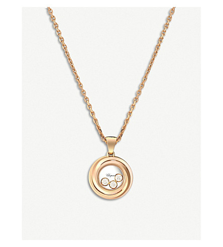 CHOPARD Happy Emotions 18ct rose-gold and diamond pendant