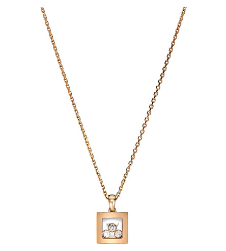 CHOPARD Happy Curves 18ct rose-gold and diamonds necklace