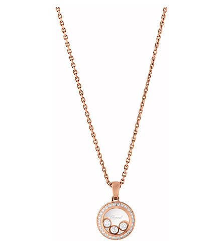 CHOPARD 799562-5003 Happy Curves 18ct rose-gold and diamond pendant